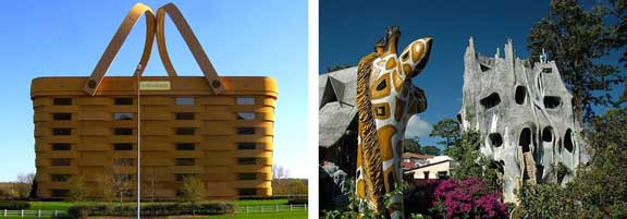 architecture, Claes Oldenburg sculptures, Erwin Wurm, Longaberger Company, MUMOK, The Basket Building, The Crooked House, Unusual architecture