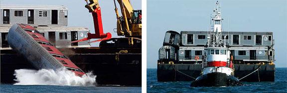 Redbird reef, environmental concerns, waste dumping, MTA, man-made marine environments, recycling subway cars