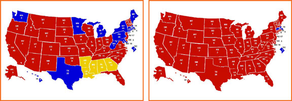 electoral votes, presidential election 2012, lopsided races, landslide races, read and blue states