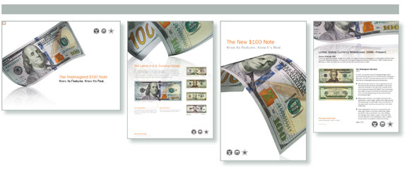 US currency, anti-counterfeiting, currency design, US $100 bills, educational materials