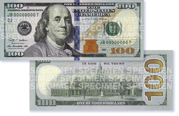 US currency, anti-counterfeiting, currency design, US $100 bills,
