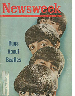 notable nights in entertainment, beatlemania, the beatles in the US, music milestones, 50th anniversaries, the ed sullivan show, cultural milestones, newsweek cover 1964