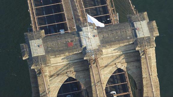 what's happening in New York, Brooklyn Bridge, borough flags, security breach, landmark, has nyc surrendered