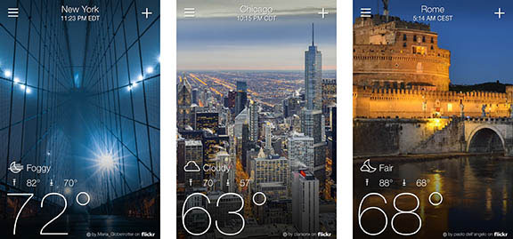 weather apps, iPhone apps, travel conditions, application graphics, Yahoo Weather app, free apps