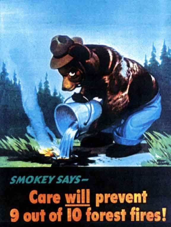 events in US history, 1944 smokey bear campaign, smoking gun, 1974 nixon resignation, politics, Watergate scandal, campaign slogans, forest fires
