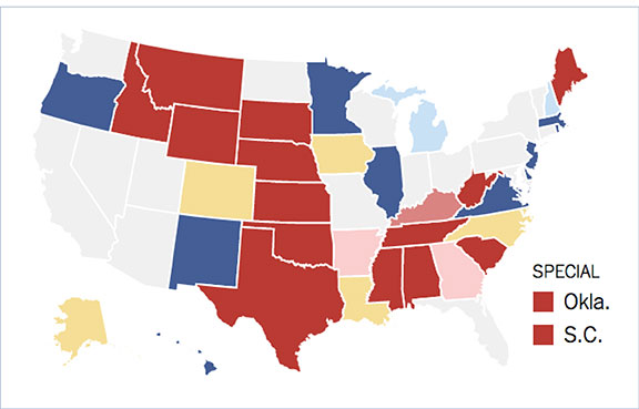 interactive maps, US senatorial elections, predictions, voting,