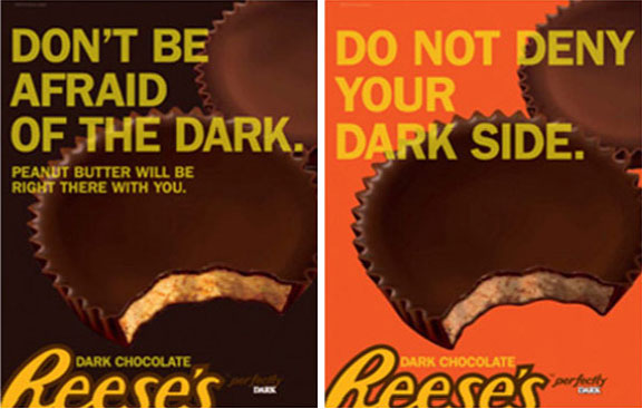 chocolate and peanut butter combo, brand loyalty, Reese's Perfect brand, Halloween commercials, Reese's Perfect posters