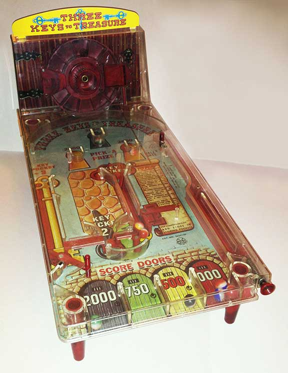 Three Keys to Treasure Bagatelle Pinball Game, children's games, board games, vintage games and toys, entertainment, fun and humor,