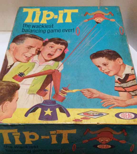 Tip-It Game, children's games, board games, vintage games and toys, entertainment, fun and humor,