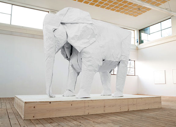 Sipho Mabona, homage to elephants, elephant art, sand sculpture, mechanical sculpture, origami animals, paper sculpture, animal protection, human and wildlife coexistence