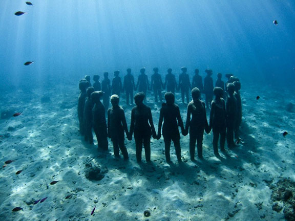Molinere Underwater Sculpture Park, the human form, art and the human form, mountaineering, body and perception, artifact retrieval, glacial archaeology, 25 Wonders of the World, global warming, alpine detritus,